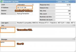 User Transaction Log Entry