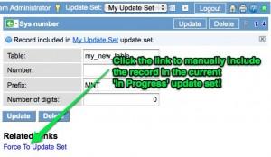 Manual Update Set Inclusion