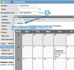CI Change Calendar Report Macro Popup